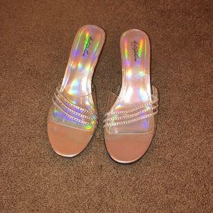 Silver Slip-on Heels